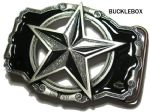 NAUTICAL STAR Belt Buckle (BLACK / SILVER) + display stand. Code RK2